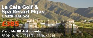Golfing holidays Spain, Costa del sol : La Cala Golf  Spa Resort Mijas view from a far